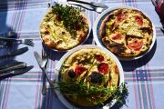 Bulgarian style pizzas with herbs from the garden