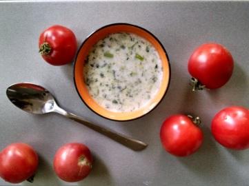 Tarator, a cold summer soup made of yogurt, cucumbers, and garlic.