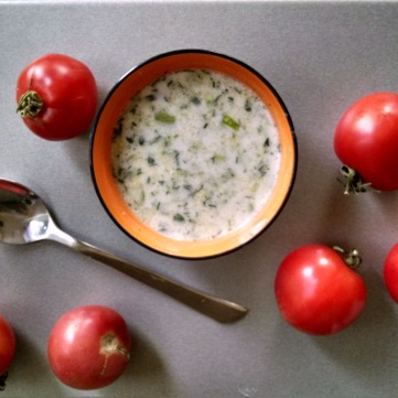 Tarator, a cold summer soup made of yogurt, cucumbers, and garlic.