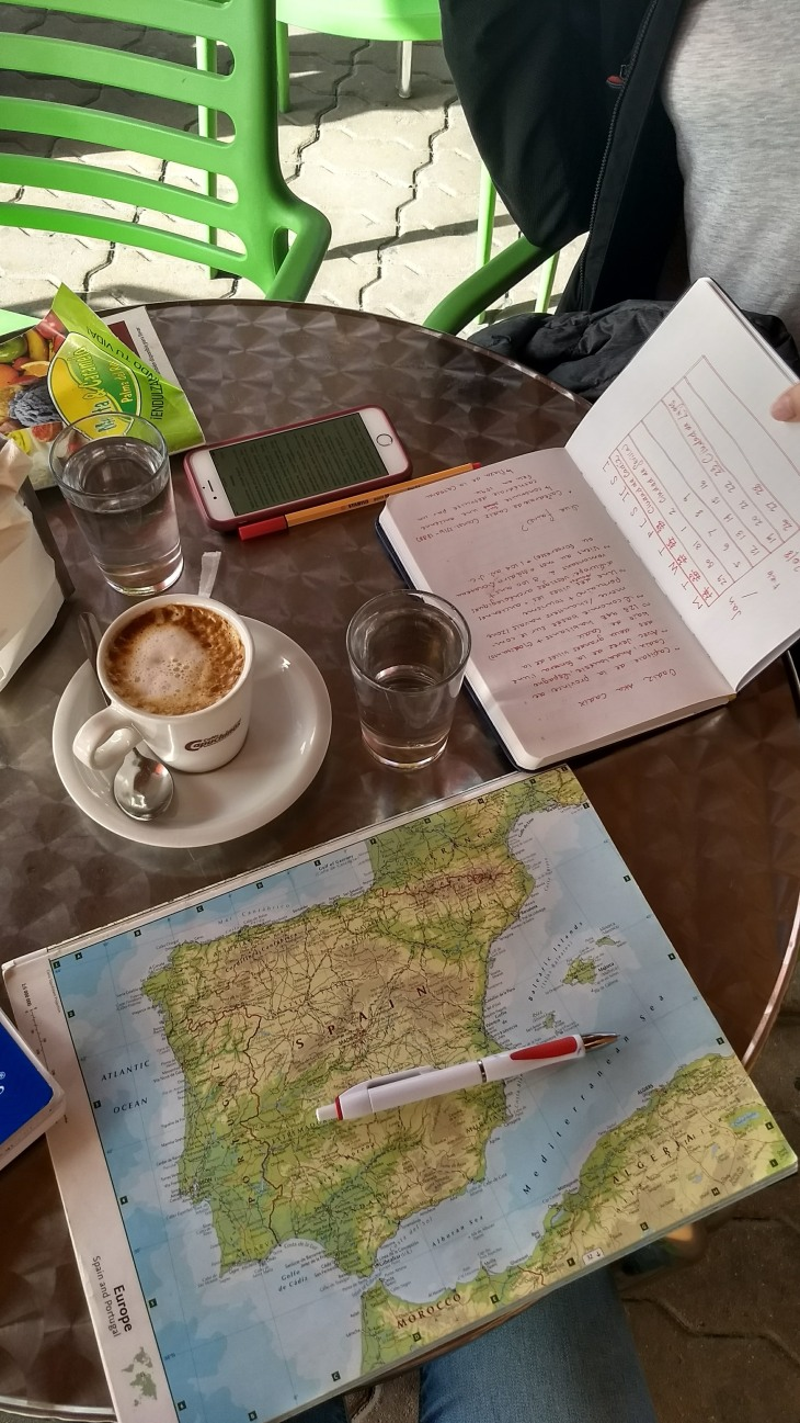 notebooks and a map on a cafe table